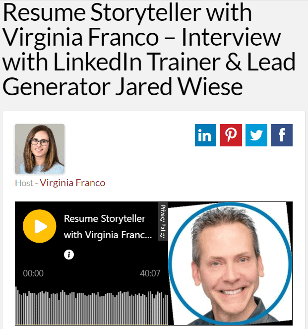 Jared J. Wiese of ProfilesThatPOP.com - Interviewed by Resume Storyteller with Virginia Franco - LinkedIn Profile, Lead Generator, Resume Writing